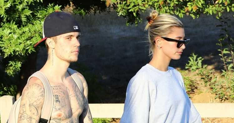 Shirtless Justin Bieber & Wife Hailey Hold Hands on Hike ...